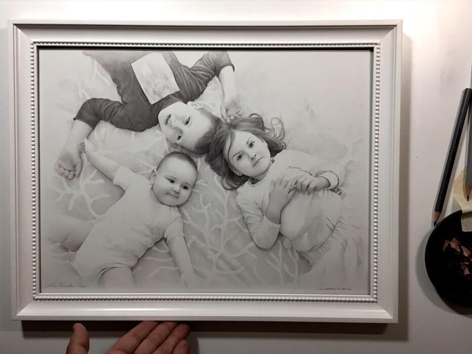 retratos a lápiz niños