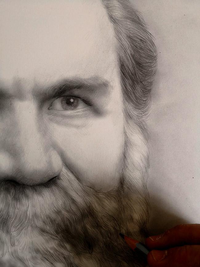 detalle del retrato a lápiz de d.d palmer quiropractico