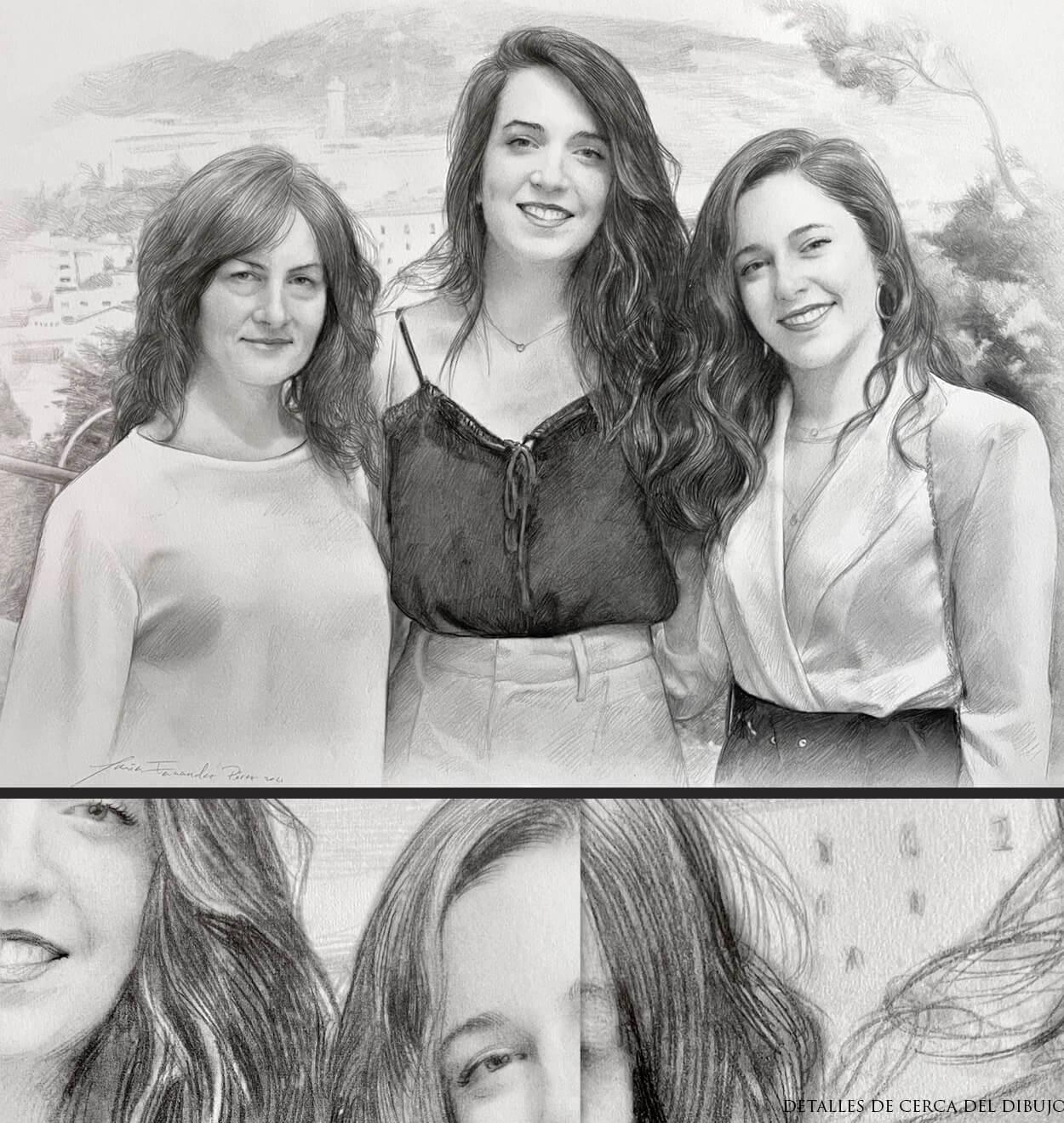 retratos de mujeres a lapiz
